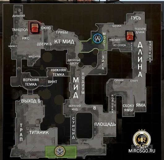 русские обозначения радара в кс го на карте dust2